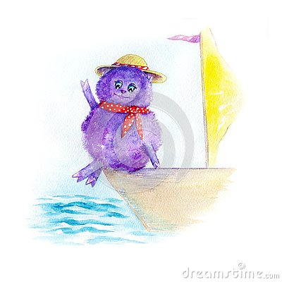 Cute watercolor hand drawn small sheep on holiday ride on a boat under sail on a clear sunny day. Cartoon Illustration