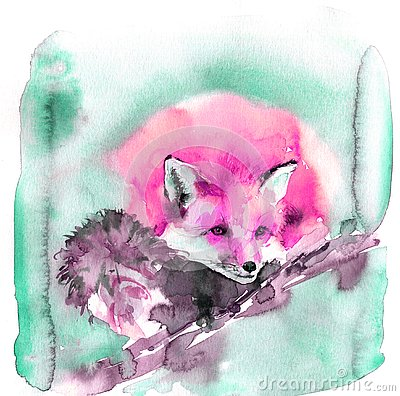 Cute watercolor illustration with pink red fox. Fluffy beast sleeps sweetly Cartoon Illustration