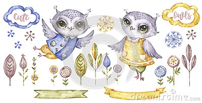 Cute watercolour owl. Decorative animals and floral illustration. Birthday elements collection. Cartoon owl. Cartoon Illustration