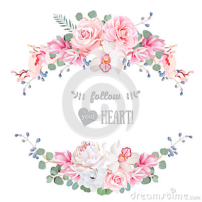 Free Cute Wedding Floral Vector Design Frame. Rose, Peony, Orchid, Anemone, Pink Flowers, Eucaliptus Leaves. Stock Photography - 70899242