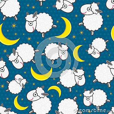 Cute White Sheeps at Night Seamless Pattern