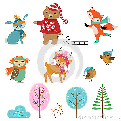 Free Cute Winter Animals Stock Photo - 36180290