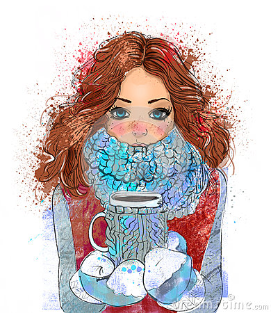 Cute Winter Girl With Coffee Cup Stock Illustration