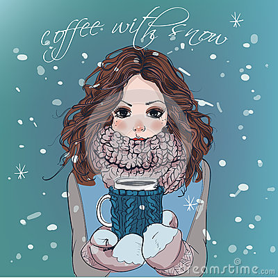 Free Cute Winter Girl With Coffee Cup Royalty Free Stock Photo - 66421635