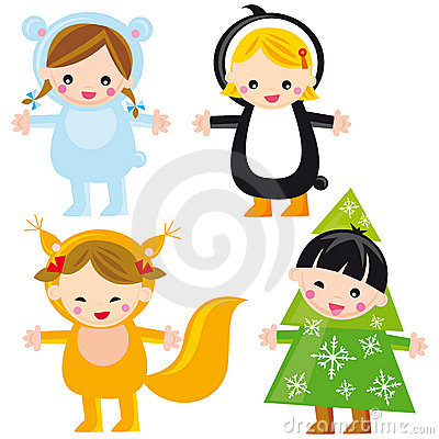 Cute winter kids