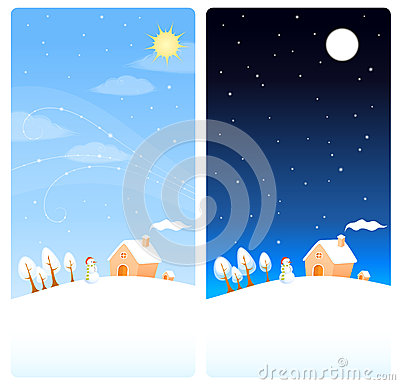 Cute winter theme vertical banners