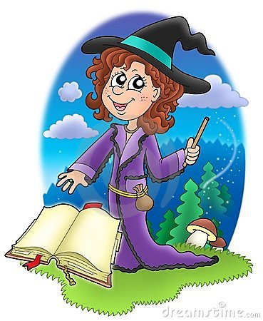 Cute witch with wand and book