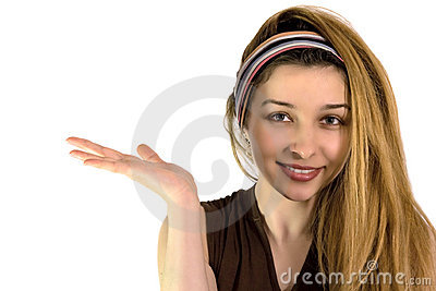 Cute woman advertise or holding something