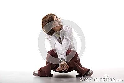 Cute woman crouching