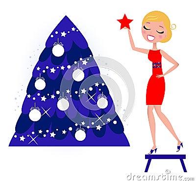 Cute Woman decorating Christmas tree.