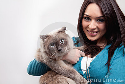 Cute woman and funny cat