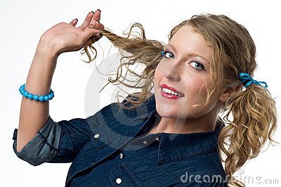Cute Woman Holding Pigtail Stock Images - Image: 14828984