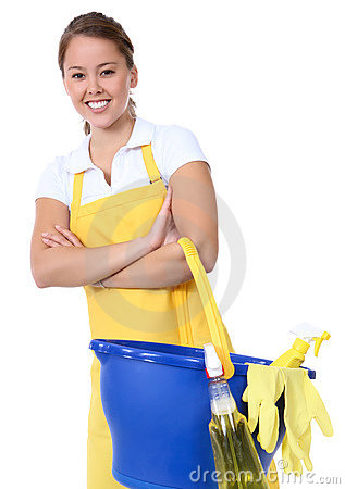 Cute Woman Maid With Cleaning Supplies