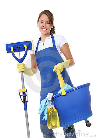 Free Cute Woman Maid With Mop Royalty Free Stock Image - 8292106