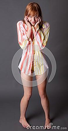 Cute Woman In Shirt And Panties Royalty Free Stock