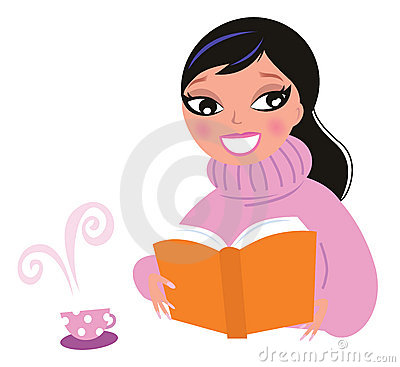 Cute woman in warm pullower reading book