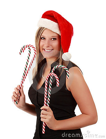 Cute woman wearing santa hat