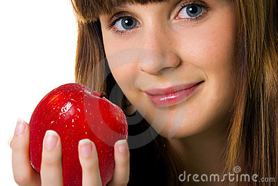 Cute women with red apple