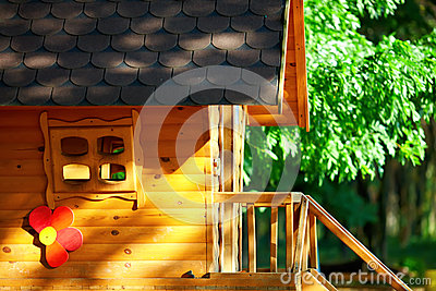 Cute wooden children house, outdoors