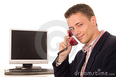 Cute worker at telephone