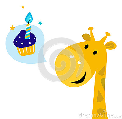 Cute yellow cartoon party giraffe with Candy