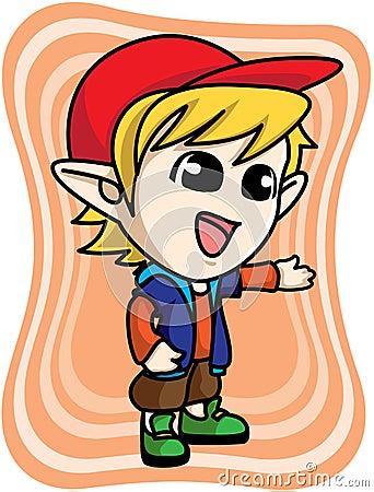 Cute yellow elf boy