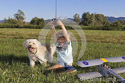Cute young boy and his RC plane