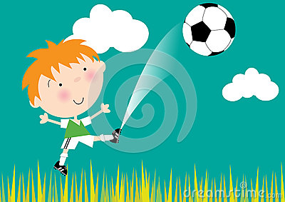 Little Boy Kicking Soccer Ball