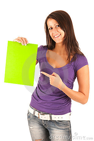Cute young brunette girl with a green paper in ha
