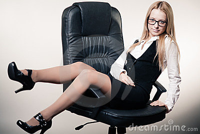 Cute young business lady
