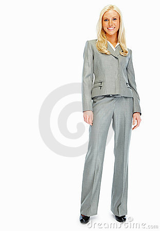 Cute young business woman isolated over white