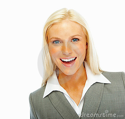 Cute young business woman on white background