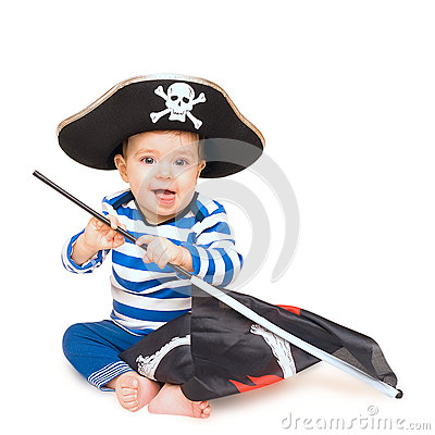 Cute young child dressed as pirate over white