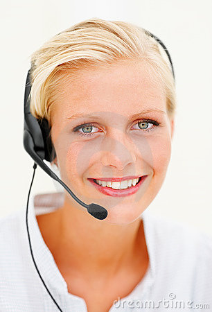 Cute young female call centre employee