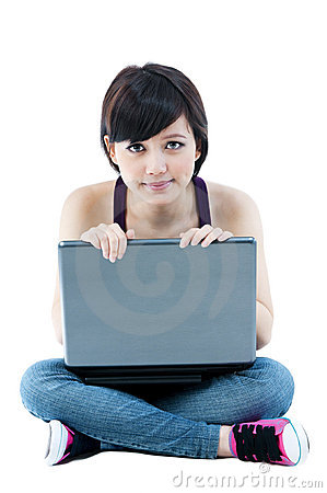 Cute Young Female With Laptop
