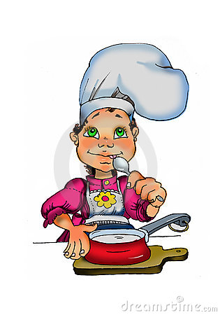 A cute young girl cooking.