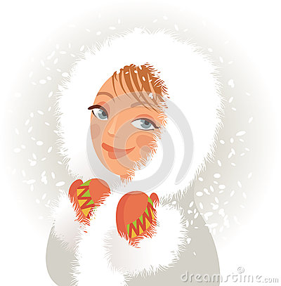 Cute young girl in a fur coat and mittens