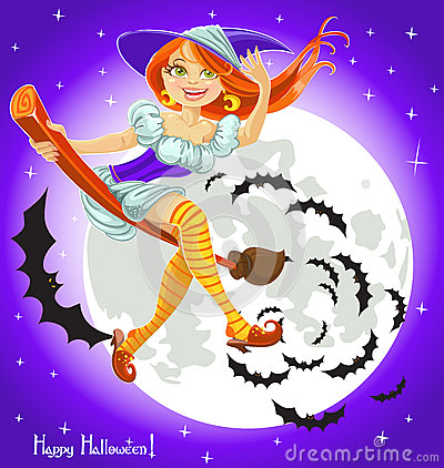 Cute young witch on a broomstick in the night sky