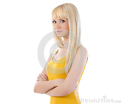 Cute young woman with hands folded