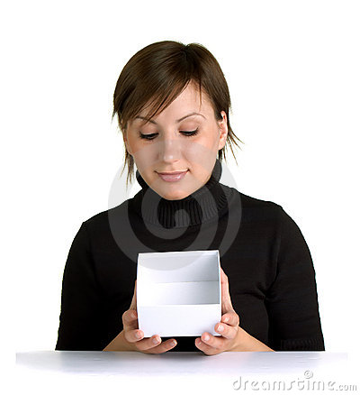 Cute young woman holding empty paper box