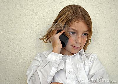Cute Youth Boy Talking on the Phone