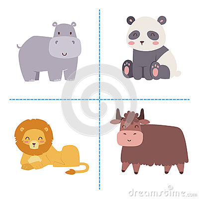 Free Cute Zoo Cartoon Animals Isolated Funny Wildlife Learn Cute Language And Tropical Nature Safari Mammal Jungle Tall Royalty Free Stock Photography - 89948017