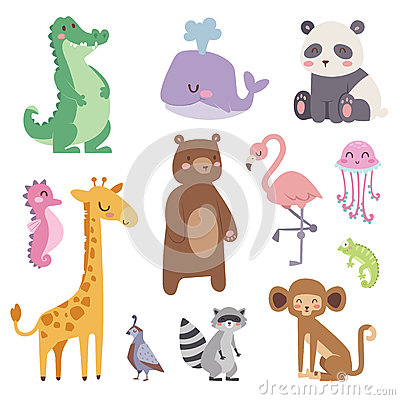 Free Cute Zoo Cartoon Animals Isolated Funny Wildlife Learn Cute Language And Tropical Nature Safari Mammal Jungle Tall Royalty Free Stock Images - 91479689