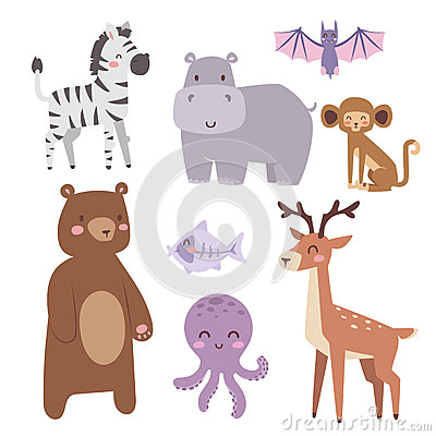 Free Cute Zoo Cartoon Animals Isolated Funny Wildlife Learn Cute Language And Tropical Nature Safari Mammal Jungle Tall Royalty Free Stock Image - 91752996