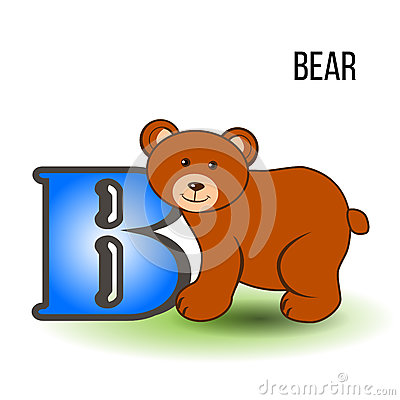 Cute zoo English alphabet B with cartoon bear, vector color illustration animal isolated on white background, Education Vector Illustration