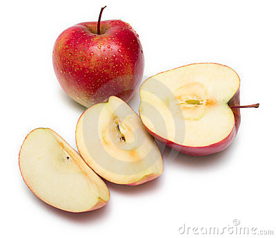 Cuted apple on white