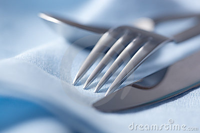 Cutlery on Blue Linen