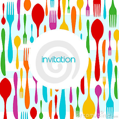 Free Cutlery Colorful Pattern Invitation Stock Photo - 11127910
