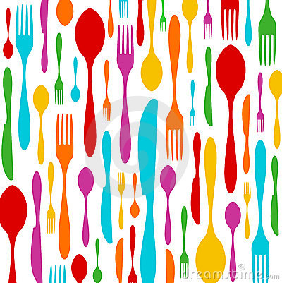 Free Cutlery Colorful Pattern On White Stock Images - 11127794