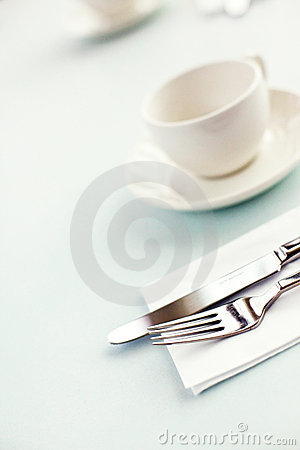 Cutlery and cup